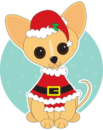 chihuahua puppy: Chihuahua  dressed for Christmas in a Santa suit Illustration