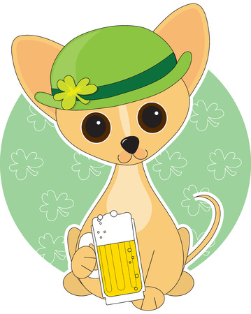 clover face: Chihuahua  dressed for St. Patricks Day