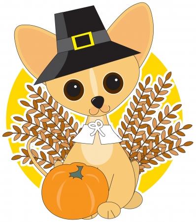 Chihuahua gekleed voor Thanksgiving Stock Illustratie