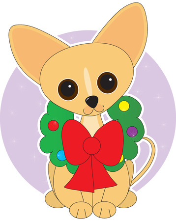 иллюстрация: Chihuahua  dressed for Christmas with a wreath around its neck