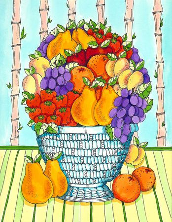 A fruit bowl with pears,oranges,grapes and strawberries