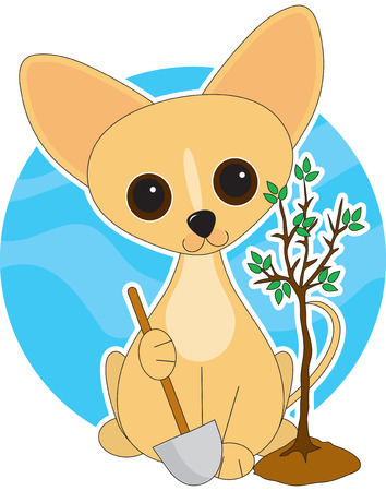 planted: A cute Chihuahua  with his paw on on a shovel and a newly planted tree