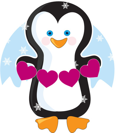 An adorable little penguin holding a banner of pink hearts Stock Vector - 6340750