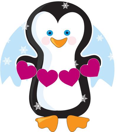 An adorable little penguin holding a banner of pink hearts Illusztráció