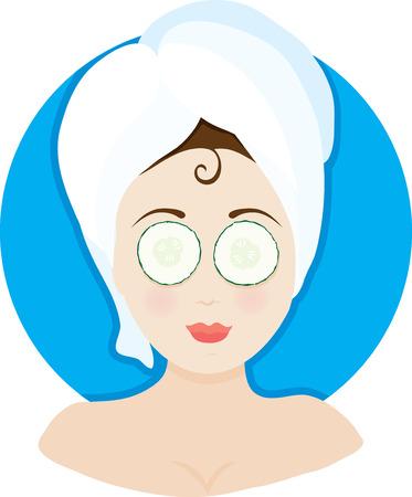 Een vrouw met een gezichtsbehandeling met een handdoek op haar hoofd en komkommers op haar ogen Stock Illustratie