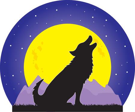 Una silueta de un lobo aullar en una gran luna amarilla en una noche estrellada Ilustración de vector