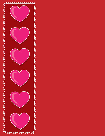 side border:  A frame or border with hearts along the left side