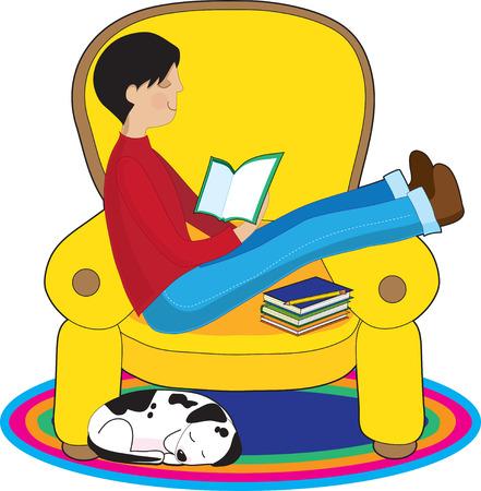 Een jongen is lezen van een boek in een grote comfortabele stoel terwijl zijn hond in de buurt slaapt