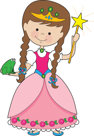 A lovely young princess is holding a magic wand in one hand and a frog in the other