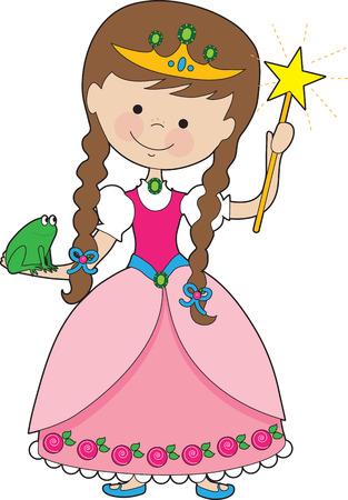 princess frog: Una joven princesa encantadora ostenta una varita m�gica en una mano y una rana en la otra