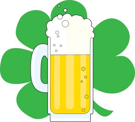 stein: Un boccale di birra su sfondo verde trifoglio Vettoriali