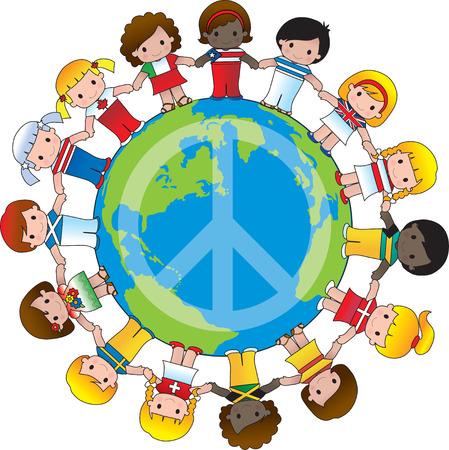 A globe with the peace sign on it and children dressed in their countries flag surround it