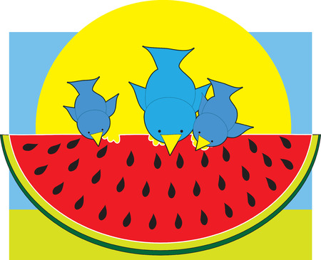 rinds: Three little blue birds sitting on top of a piece of watermelon having a snack