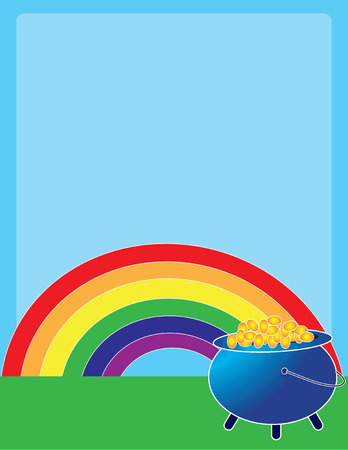A rainbow and a pot of gold on a pale blue background  Vector