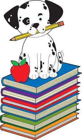 Un cachorro dálmata con un lápiz en su boca está sentado sobre una pila de libros