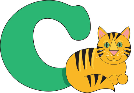 letter alphabet pictures: Letter C with a Cat
