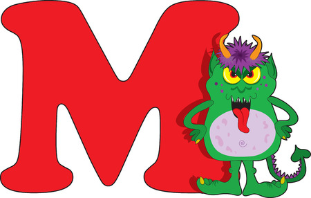alien clipart: Letter M with a Monster