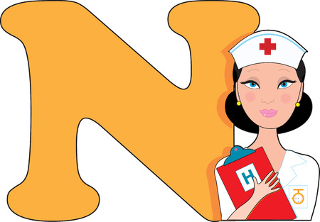 letter alphabet pictures: Letter N with a Nurse