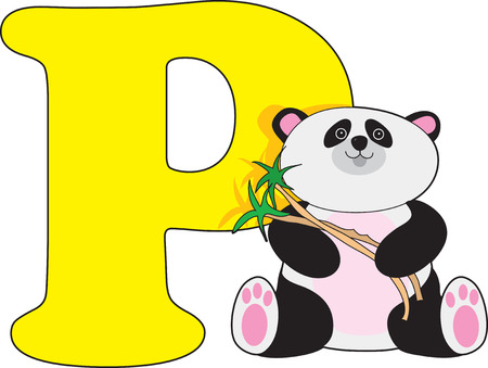 letter alphabet pictures: Letter P with a Panda