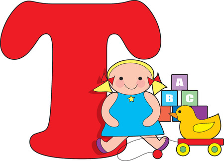 Letter T with Toys Vector