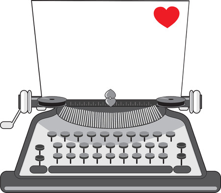 A vintage typewriter with a sheet of paper that has a heart on it Ilustracja