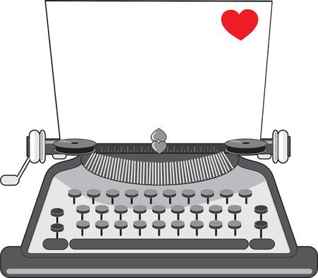 Een vintage schrijfmachine met een vel papier met een hart op het heeft