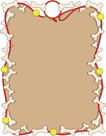 A border or frame featuring a dog leash some tennis balls and bones