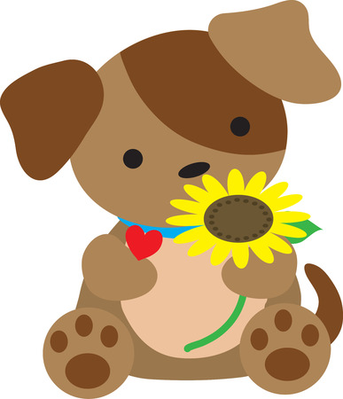 A cute little puppy is holding a sunflower. He has a heart around his neck