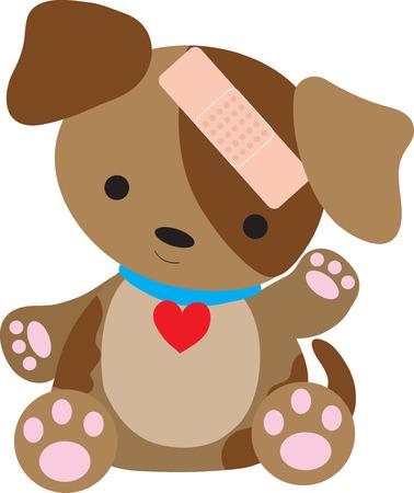 Cute little Welpe ist mit ein Pflaster auf seinem Kopf. Er hat ein Herz um den Hals und er ist winken Illustration