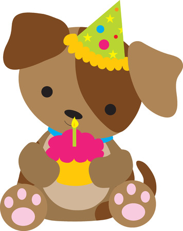 A cute little puppy holding a cupcake with a candle on it. He is wearing a party hat