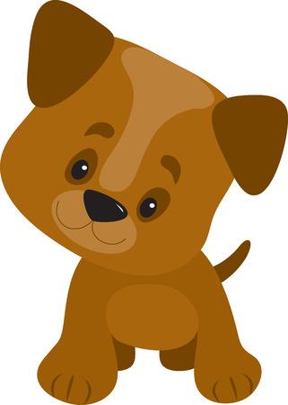 호기심과 행복을 찾고 큰 머리를 가진 귀여운 작은 강아지