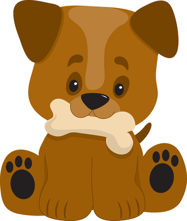 A cute ittle puppy with a big head looking happy with a bone in it's mouth Illustration