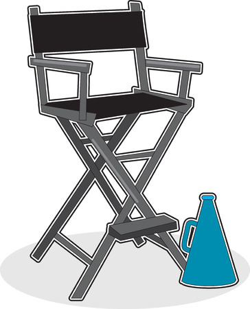 A director's chair with a megaphone sitting on the floor nearby