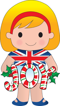 A cute little girl from BritainEngland holding the word JOY made of candy canes