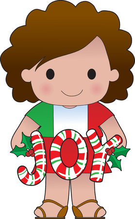 A cute little girl from Italy holding the word JOY made of candy canes Ilustração
