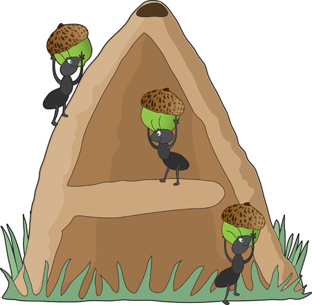 Ants carrying acorns into an anthill in the shape of the letter A