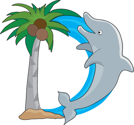 alphabet tree: A dolphin jumping out of water, shaped like the letter D
