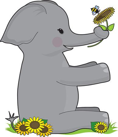 Een olifant vergadering houden een zonne bloem. Hij is in de vorm van de E  Stock Illustratie