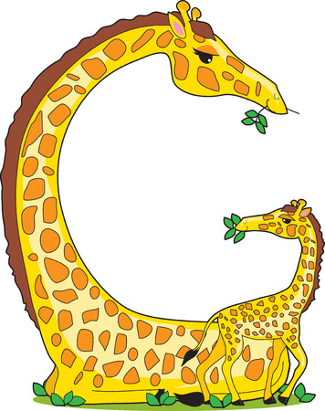 A giraffe and her baby in the shape of the letter G