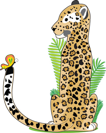 A Jaguar is sitting and looking at a butterfly on his tail. He is shaped like the letter J