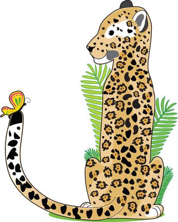 Een Jaguar zitten en kijken naar een vlinder op zijn staart. Hij is de vorm van de letter J  Stock Illustratie