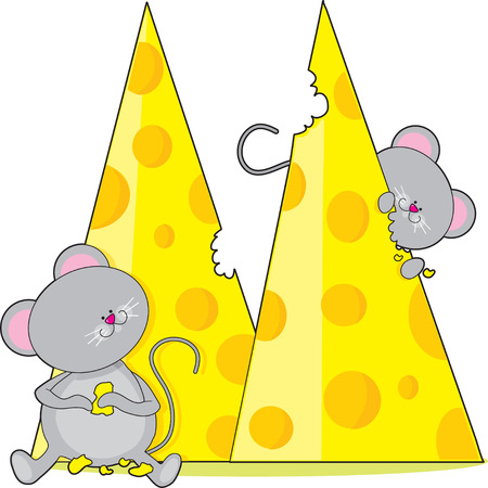 Two mice eating some swiss cheese.  The cheese is shaped like the letter M