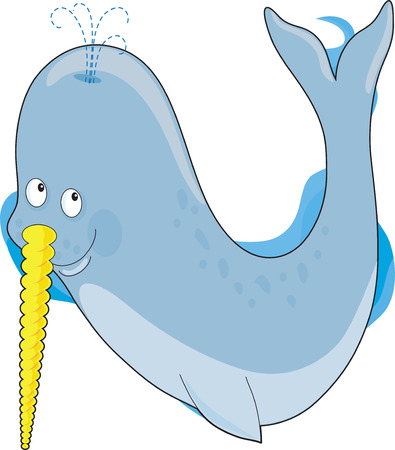 A narwhal whale in the shape of a the letter N