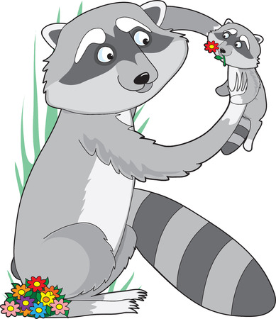 A raccoon holding its baby in the air. She is shaped like the letter R