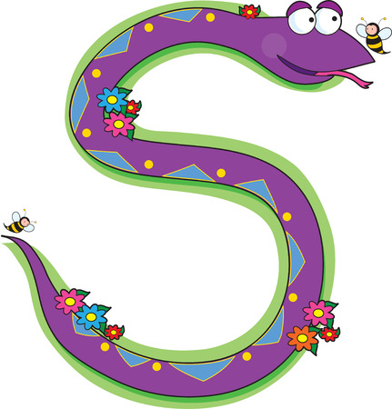 A snake in a garden looking at a bee.  It is shaped like the letter S Illustration