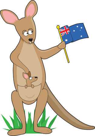 A kangaroo holding an Australian flag. Ther is a joey in her pouch. It is shaped like the letter K