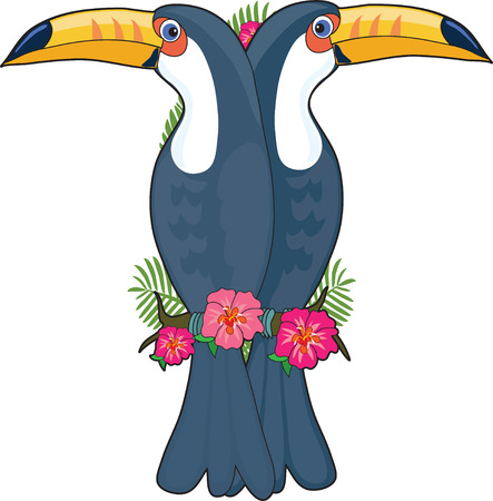 A pair of toucans sitting on a hibiscus branch. They are shaped like the letter T