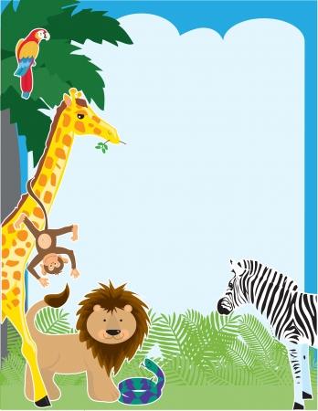 Een jungle boordmotief met een papegaai, giraffe, aap, Leeuw, slang en een zebra Stock Illustratie