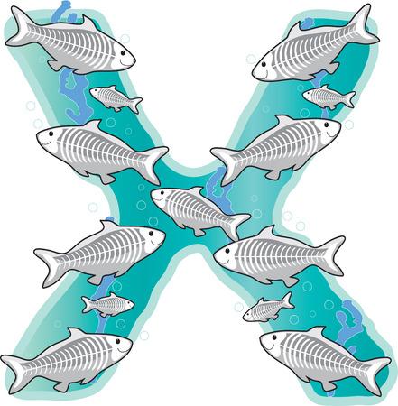 Een school van x-ray vis in de vorm van de letter x