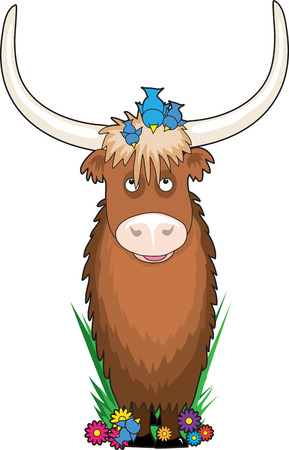 yak: A yak with a few bluebirds on his head - he is shaped like the letter Y